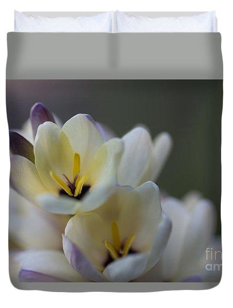 Close-up Of White Freesia Duvet Cover