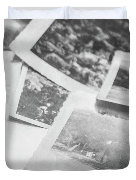 Close Up On Old Black And White Photographs Duvet Cover