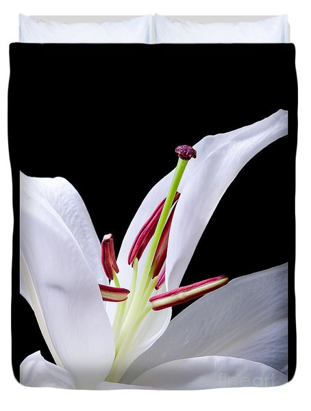 Duvet Cover featuring the photograph Close-up Photograph Of A White Oriental  Lily by David Perry Lawrence