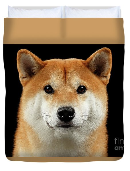 Close-up Portrait Of Head Shiba Inu Dog, Isolated Black Background Duvet Cover by Sergey Taran