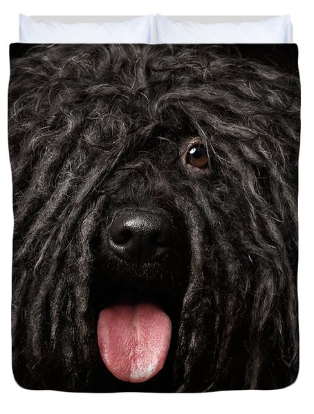 Close Up Portrait Of Puli Dog Isolated On Black Duvet Cover