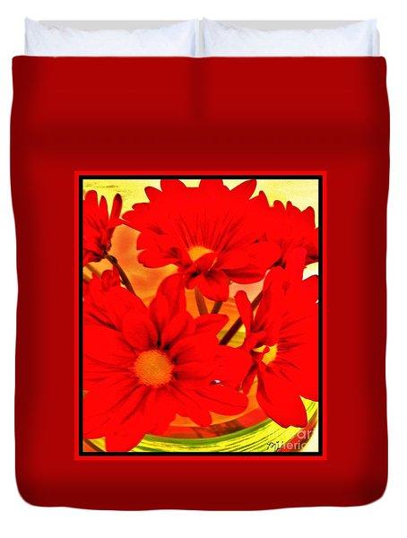 Close Up Red Gerbers Duvet Cover by Marsha Heiken