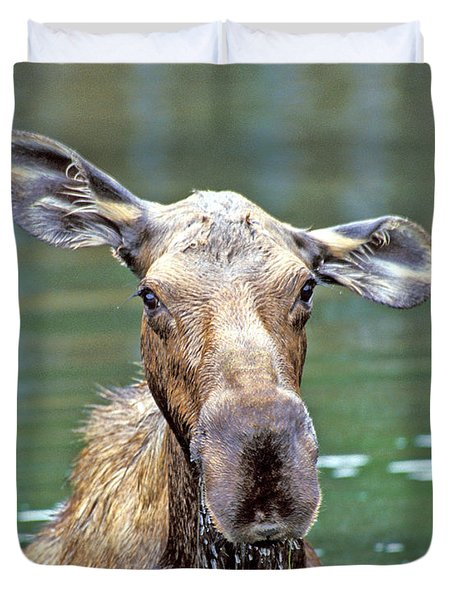 Close Wet Moose Duvet Cover