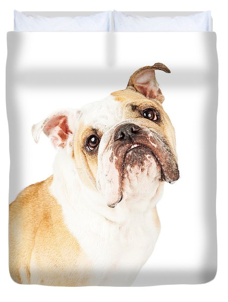 Closeup Adorable English Bulldog Looking Up Duvet Cover