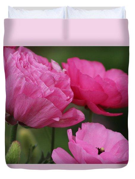 Closeup Deep Peony Pink Ranunculus Duvet Cover