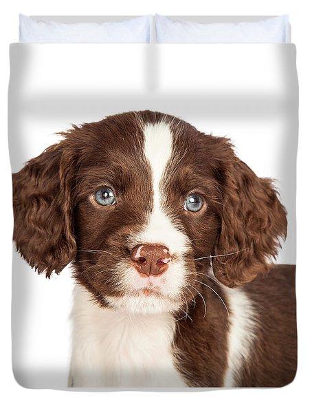 Closeup English Springer Spaniel Puppy Duvet Cover