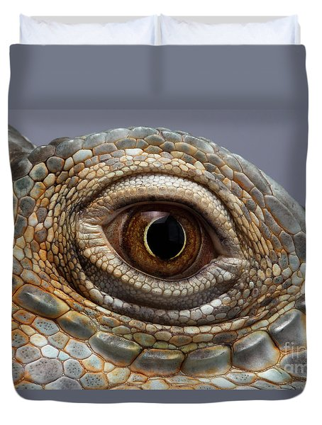 Closeup Eye Of Green Iguana Duvet Cover by Sergey Taran