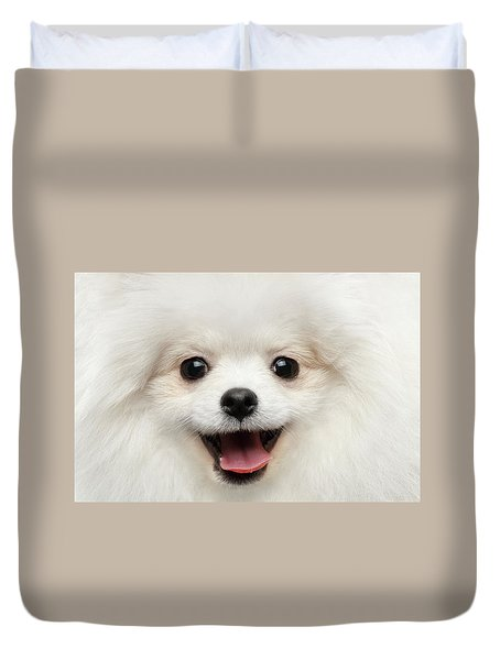 Closeup Furry Happiness White Pomeranian Spitz Dog Curious Smiling Duvet Cover by Sergey Taran