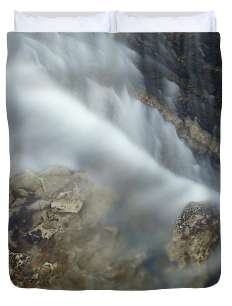 Closeup Maple Leaf And Decew Falls, St Duvet Cover by Darwin Wiggett