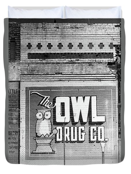 Closeup Of 1930s Era Owl Drug Wall Sign Tucson Arizona 1989 Duvet Cover