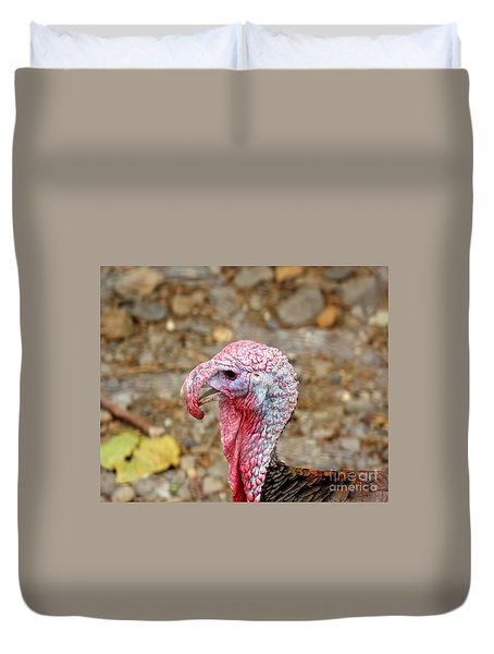 Duvet Cover featuring the photograph Closeup Of A Male Turkey by Yali Shi