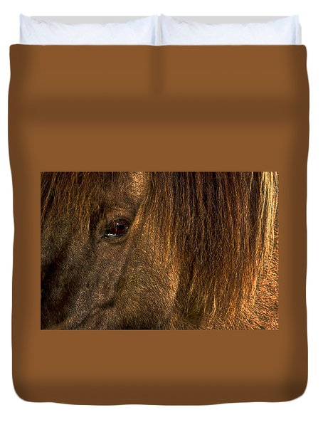 Closeup Of An Icelandic Horse #2 Duvet Cover by Stuart Litoff