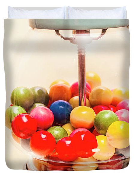 Closeup Of Colorful Gumballs In Candy Dispenser Duvet Cover