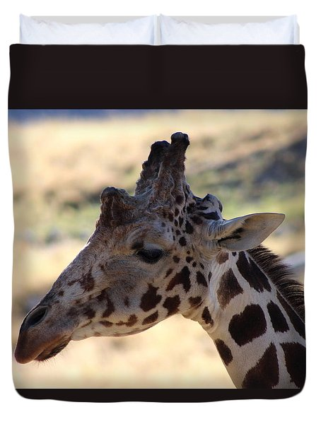 Closeup Of Giraffe Duvet Cover by Colleen Cornelius