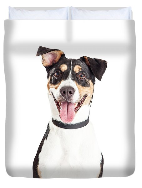 Closeup Of Happy Crossbreed Dog Mouth Open Duvet Cover