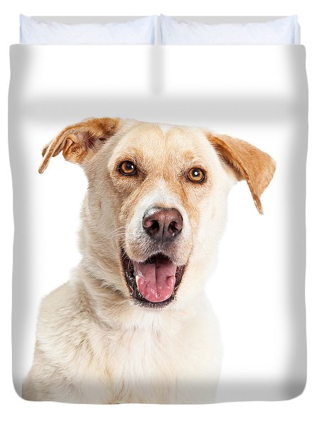 Closeup Of Happy Yellow Labrador Dog Crossbreed Duvet Cover