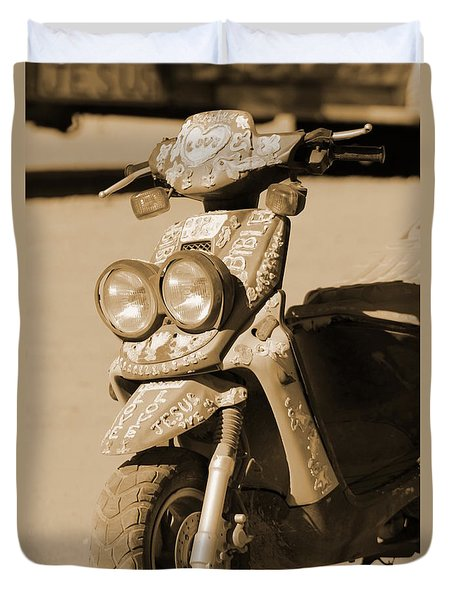 Closeup Of Jesus Scooter In Sepia Duvet Cover