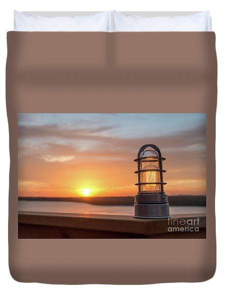 Closeup Of Light With Sunset In The Background Duvet Cover