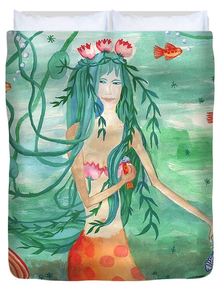 Closeup Of Lily Pond Mermaid With Goldfish Snack Duvet Cover by Sushila Burgess