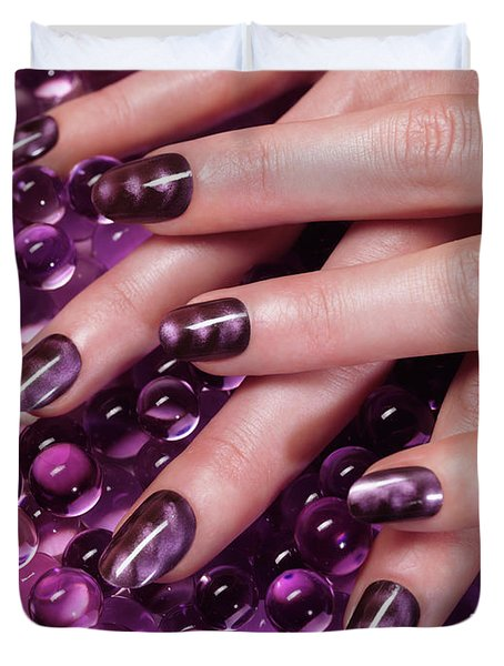 Closeup Of Woman Hands With Purple Nail Polish Duvet Cover by Oleksiy Maksymenko