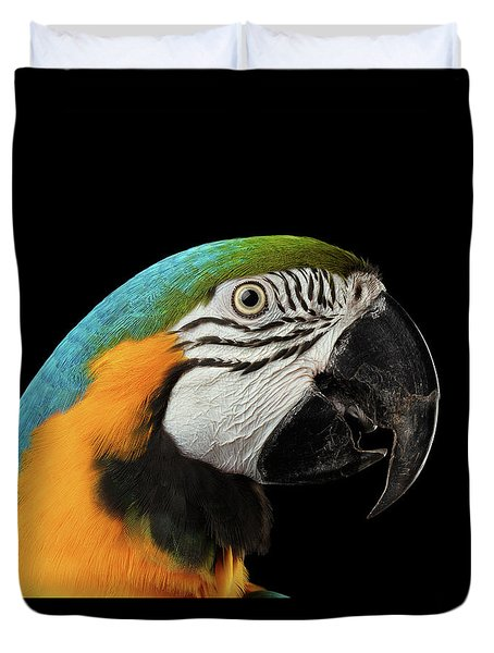 Closeup Portrait Of A Blue And Yellow Macaw Parrot Face Isolated On Black Background Duvet Cover