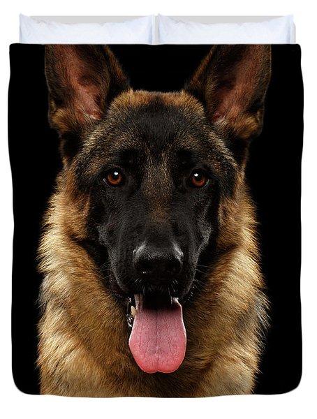 Closeup Portrait Of German Shepherd On Black  Duvet Cover