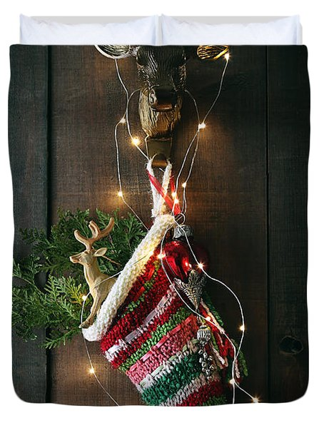 Closeup Stripe Wool Stocking With Lights Duvet Cover