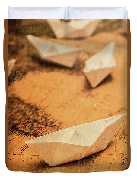 Closeup Toned Image Of Paper Boats On World Map Duvet Cover
