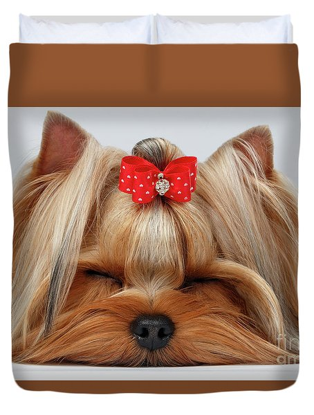 Closeup Yorkshire Terrier Dog With Closed Eyes Lying On White  Duvet Cover by Sergey Taran