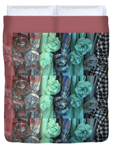 Duvet Cover featuring the digital art Cloth Craft Work Flower Patterns Made Of Tshirt Sleeves Fashion Couture Christmas Birthday Holidays  by Navin Joshi