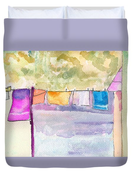 Clothes On The Line Duvet Cover