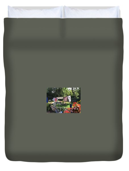 Clothesline And Coleus In An East Gloucester  Ma Garden  Duvet Cover