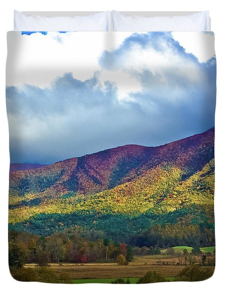 Cloud Covered Peaks Duvet Cover by DigiArt Diaries by Vicky B Fuller