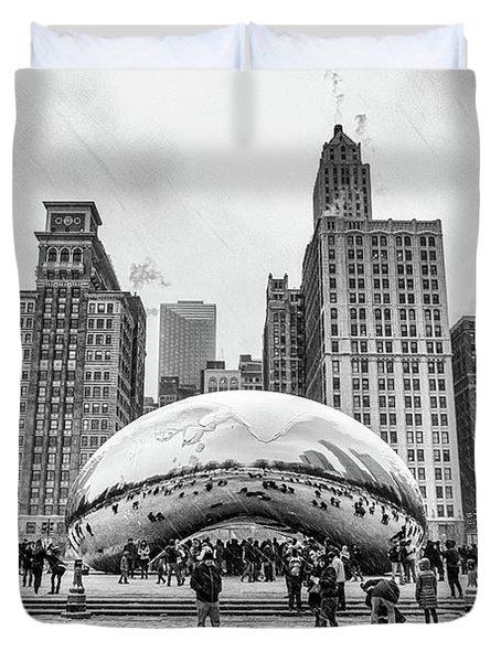 Cloud Gate Bw Duvet Cover