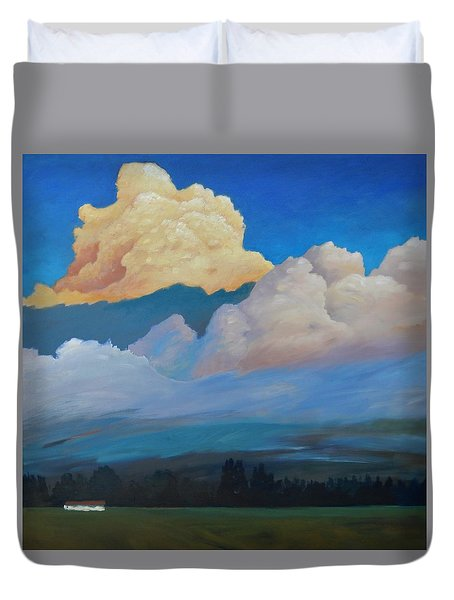 Duvet Cover featuring the painting Cloud On The Rise by Gary Coleman