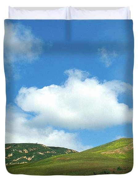 Cloud Over Hills In Spring Duvet Cover by Kathy Yates