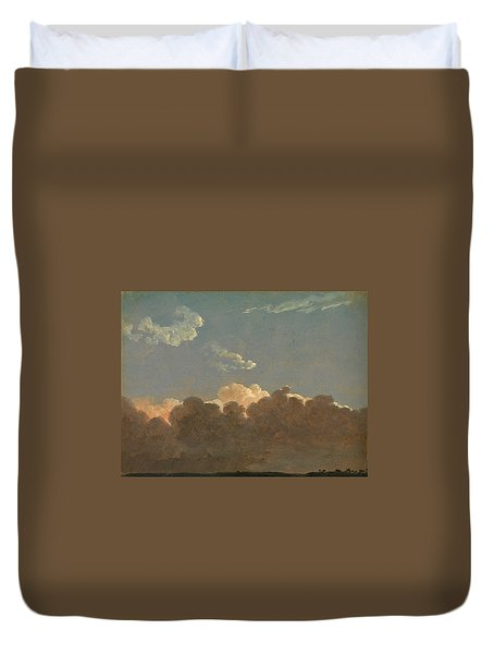 Duvet Cover featuring the painting Cloud Study. Distant Storm by Simon Denis