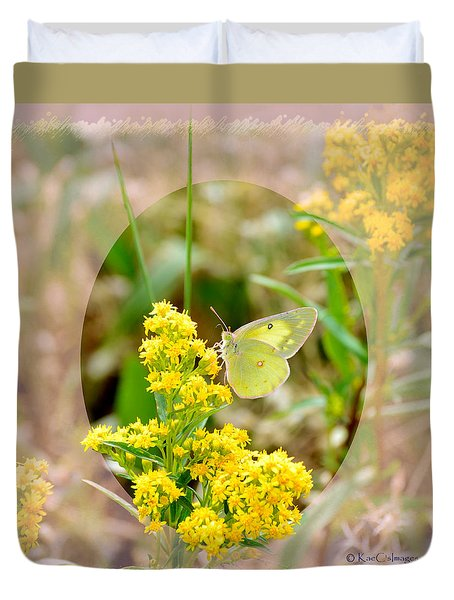 Clouded Sulphur Butterfly Sipping Nectar Duvet Cover
