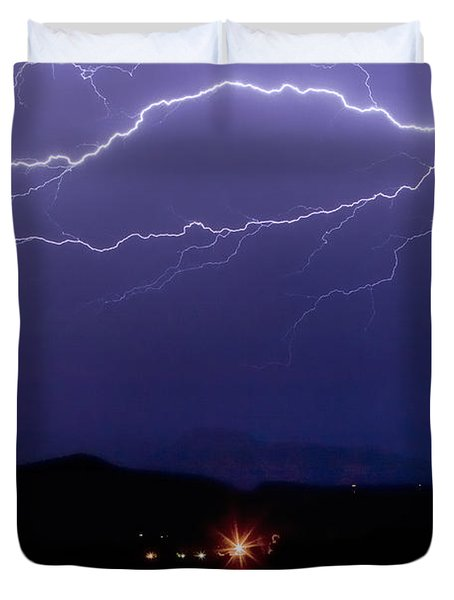 Cloud To Cloud Horizontal Lightning Duvet Cover by James BO  Insogna