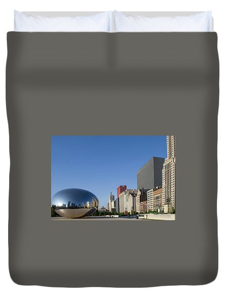 Cloudgate Reflects Michigan Avenue  Duvet Cover