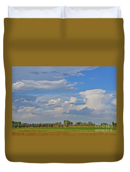 Clouds Aboive The Tree Farm Duvet Cover