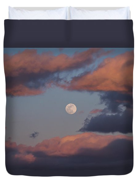 Duvet Cover featuring the photograph Clouds And Moon March 2017 by Terry DeLuco