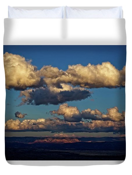 Clouds And Red Rocks Hdr Duvet Cover