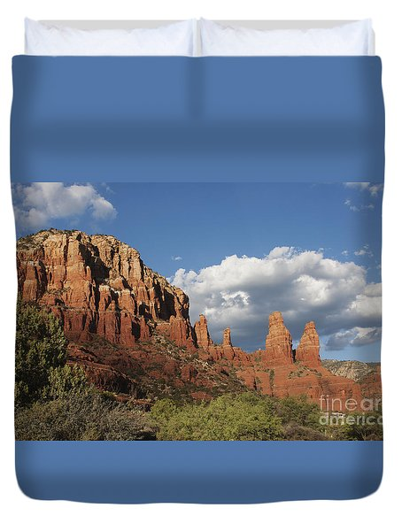 Duvet Cover featuring the photograph Clouds And Red Rocks by Ruth Jolly