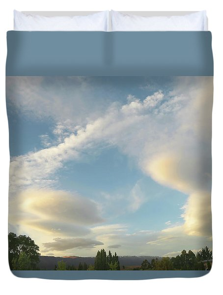 Clouds And Trees Duvet Cover