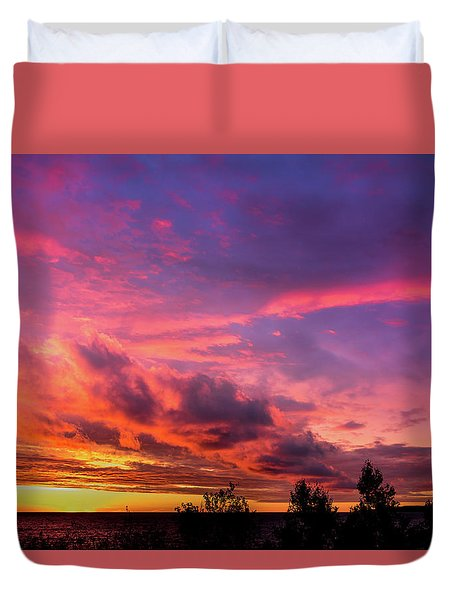Duvet Cover featuring the photograph Clouds At Sunset by Onyonet  Photo Studios