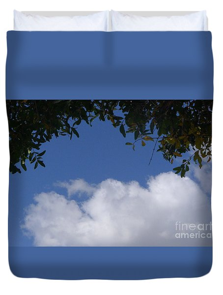 Clouds Framed By Tree Duvet Cover