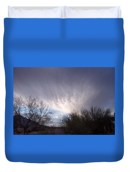 Duvet Cover featuring the painting Clouds In Desert by Mordecai Colodner