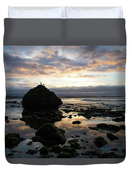 Duvet Cover featuring the photograph Clouds In The Sea by Lora Lee Chapman
