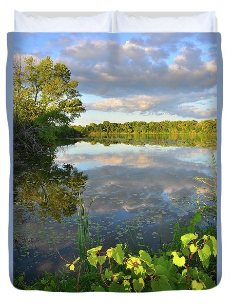 Clouds Mirrored In Snug Harbor Duvet Cover